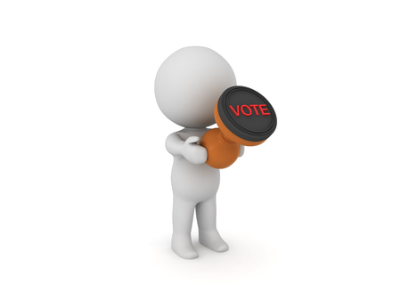 3D Character holding a voting stamp. 3D rendering isolated on white. Stock Photo