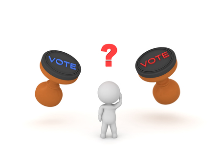 3D Character trying to decide who he should vote for. 3D rendering isolated on white.