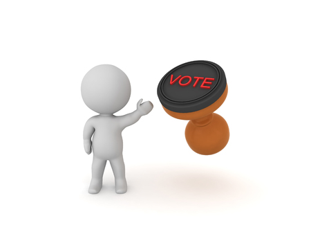 3D Character showing a voting stamp.  Isolated on white 3D rendering.