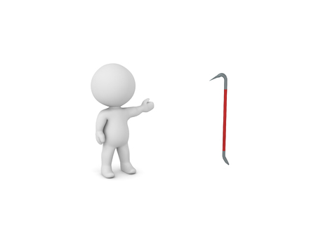 3D Character showing a red crowbar. 3D rendering isolated on white.