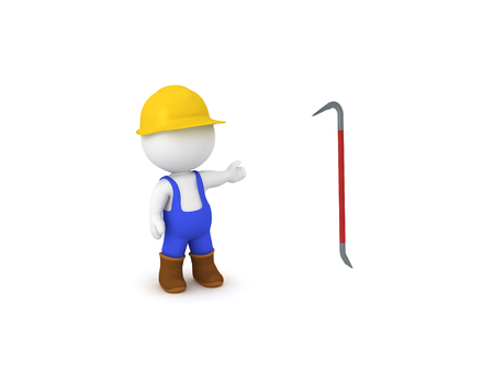 3D worker showing red crowbar. 3D Rendering isolated on white.