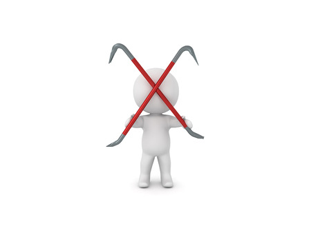 3D Character holding two crowbars crossed. 3D rendering isolated on white. Stock Photo