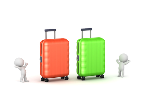 Two small 3D characters with huge luggage. Isolated on white background.