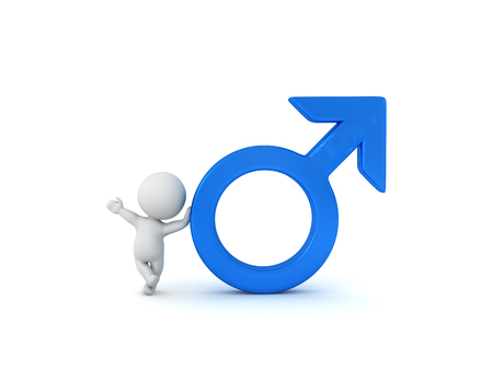 3D Character leaning on Male gender symbol. 3D Rendering isolated on white.