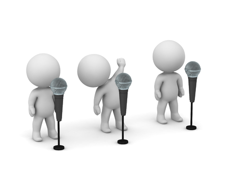 Three 3D characters with microphones. Public speaking or karaoke concept. Isolated on white background.