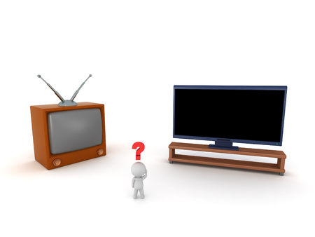 3D character with a retro TV and a modern widescreen TV. Isolated on white background.