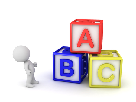 Small 3D characters with ABC block toys. Isolated on white background.