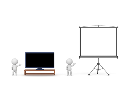 3D characters are showing a widescreen TV and a projector screen. Isolated on white background.