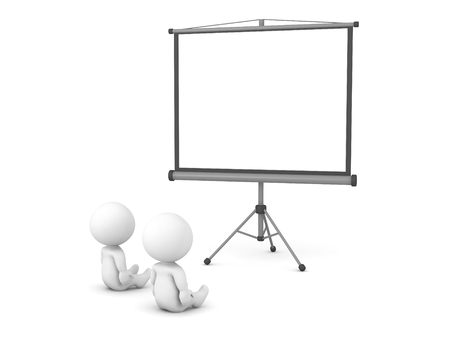 3D characters are watching a large projector screen. Isolated on white background.