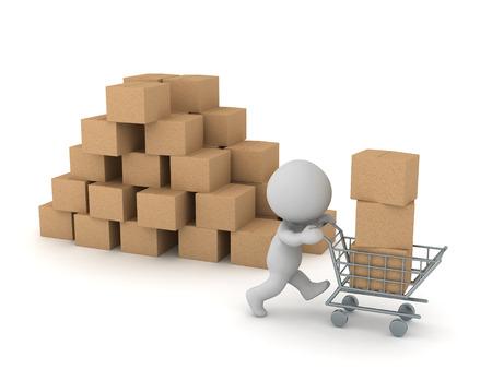 Personaje 3D con carrito de compras y cajas de cartón. Aislado sobre fondo blanco.