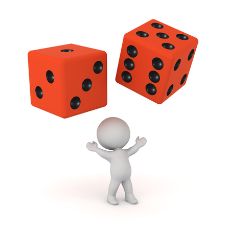 Happy 3D character looking up at two large dice. Isolated on white background. Stock Photo