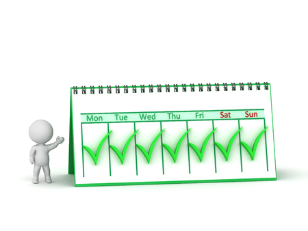 Small 3D character showing a calendar with all seven weeks checked as done. Isolated on white background.