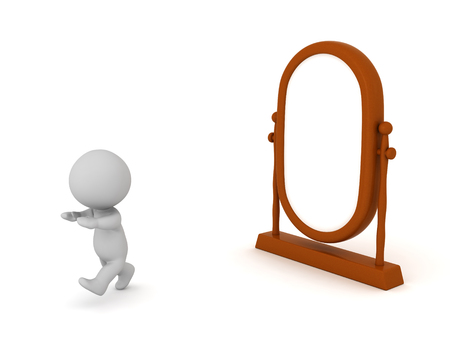 A 3D character is running away from a mirror. Isolated on white background. Stok Fotoğraf