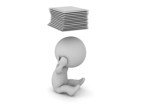 Upset 3D characters with papers above his head. Isolated on white background.