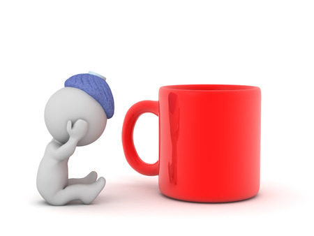 Sick 3d character sitting down with an ice bag and a large mug. Isolated on white background.