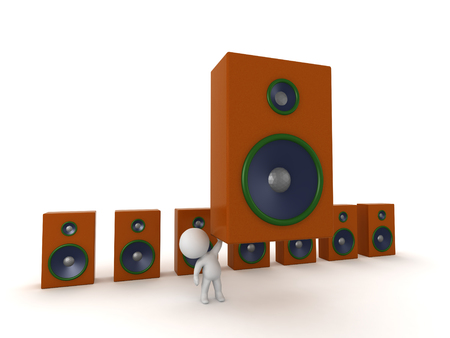 3D character with a large audio system. Isolated on white background.