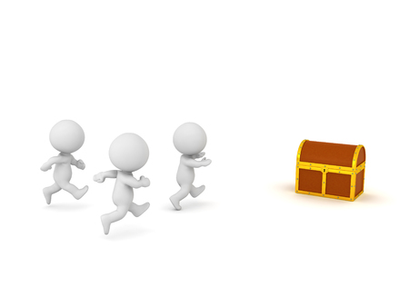 Several 3D characters are running toward a treasure chest. Isolated on white background.