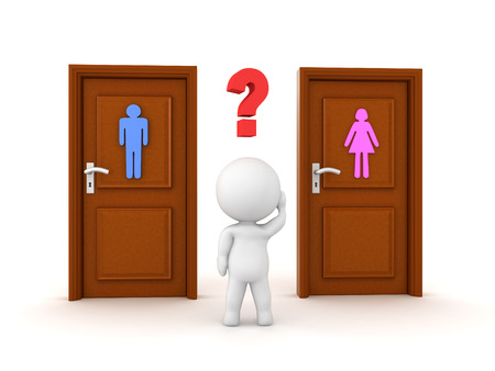3D Character not knowing what bathroom to chose. 3D Rendering isolated on white. Transgender concept image.