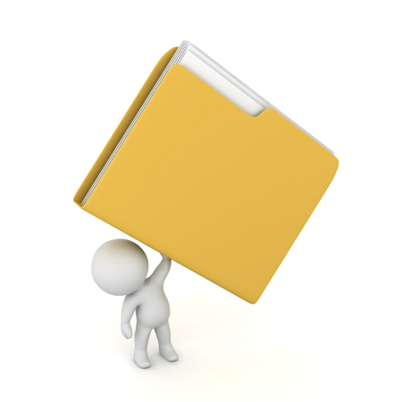 3D character holding up a large file folder. Isolated on white background. Imagens
