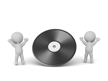 Two happy 3D characters with a large vinyl disk. Isolated on white background. Stock Photo