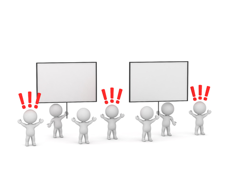 Upset 3D characters with large protest signs. Isolated on white background. Archivio Fotografico - 118909383
