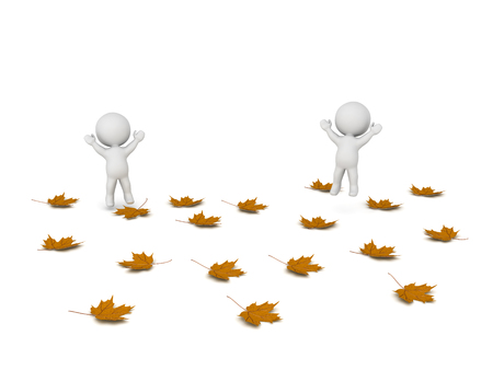 Happy 3D characters with many fallen autumn leaves. Isolated on white background.