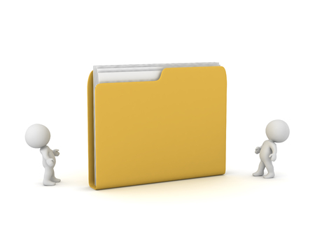 Small 3D characters looking up at a large file folder. Isolated on white background.