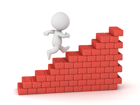 A 3D character is running up a set of stairs made of construction bricks. Isolated on white background.