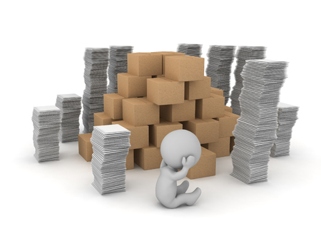 An upset 3D character sitting down among stacks of cardboard boxes and papers. Isolated on white background. Stock Photo
