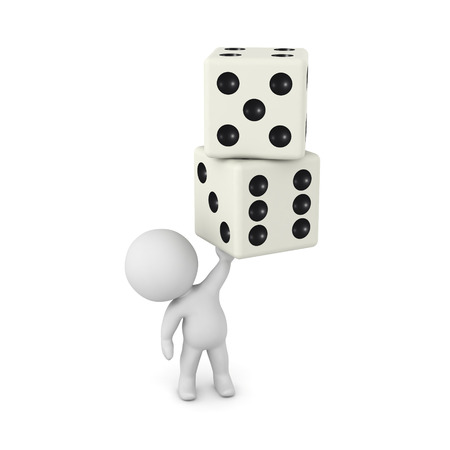 A small 3D character is holding up two dice. Isolated on white background.