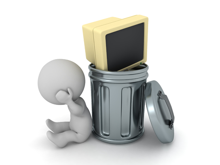 A sad 3D character sitting down next to a trash can with an old computer monitor. Isolated on white background.