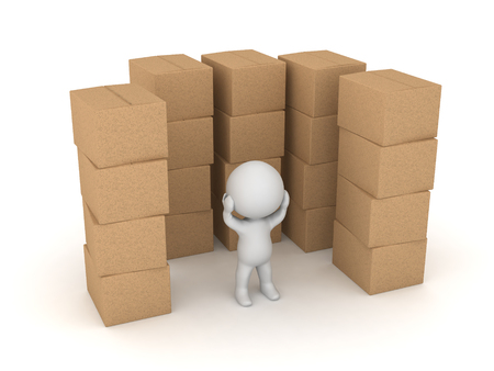 A stressed 3D character surronded by stacks of cardboard boxes. Isolated on white background.