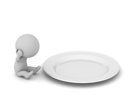 Sad 3D character sitting next to a large plate. Isolated on white background.