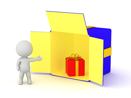 3D character showing a large open gift box with a smaller gift inside. Isolated on white background. Imagens