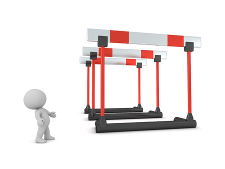 3D character looking up at large hurdles. Isolated on white background. Standard-Bild - 118919617