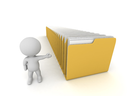 A 3D character with a row of large file folders. Isolated on white background.