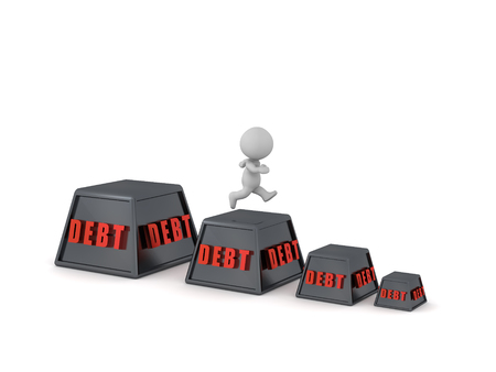 3D character running to get out of debt. Isolated on white background. Stock Photo