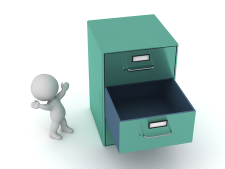 Small 3D character with a large metal archiving cabinet with an empty drawer. Isolated on white background. Imagens