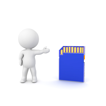 3D Rendering of character showing blue SD Card. 3D Rendering isolated on white.