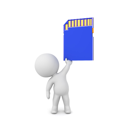 3D Character holding up a blue SD Card. 3D Rendering isolated on white.