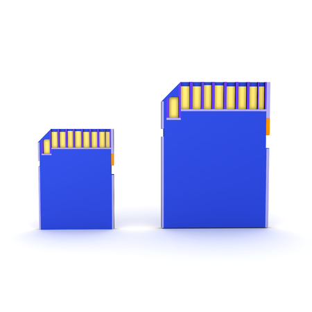 3D Rendering of two different size SD Cards. 3D Rendering isolated on white.