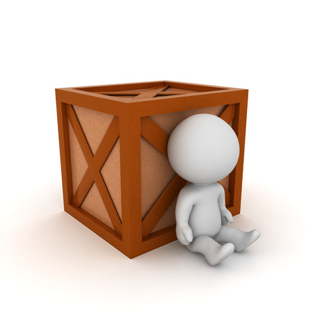 3D Character sitting next to wooden crate. 3D rendering isolated on white.