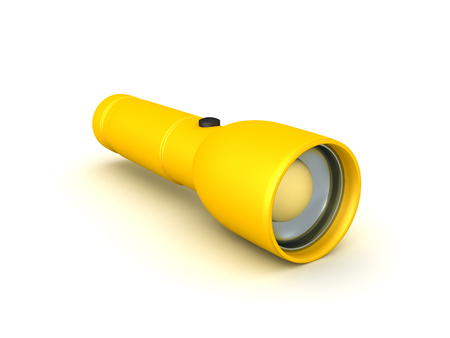 3D Rendering of a yellow flashlight. 3D rendering isolated on white. Imagens