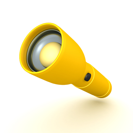 3D Rendering of flashlight. 3D rendering isolated on white.