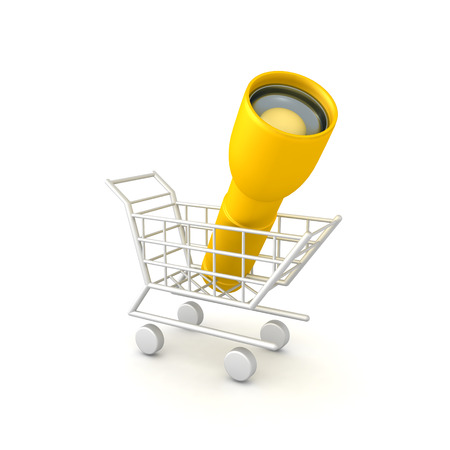 3D Rendering of flashlight in shopping cart. 3D rendering isolated on white. Stock Photo