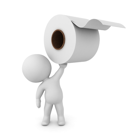 3D Character holding up a toilet paper roll. 3D rendering isolated on white.