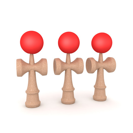 3D Character looking up at kendama toy. 3D rendering isolated on white. Banco de Imagens