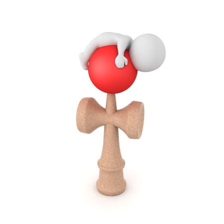 3D Character sleeping on top of kendama. 3D rendering isolated on white. Banco de Imagens