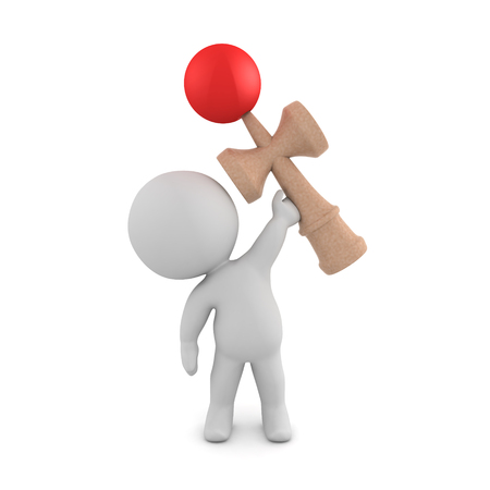 3D Character holding up a kendama toy. 3D rendering isolated on white.