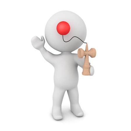 3D Character playing with kendama toy. 3D rendering isolated on white. Banco de Imagens